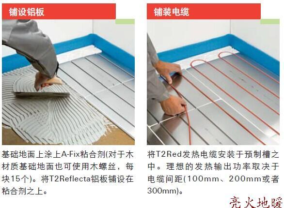 对于实木地板等对温度要求较高的地板材料来说,T2Red是最为可靠的地板采暖系统。实木地板要求其最高表面温度不超过26-27度,木材膨胀和收缩性能的好坏与其温度变化和湿度息息相关,过高的温度变 化会导致木质地板的损坏。 自调控加热电缆T2Red对于实木地板可以避免过热、平稳升温、减少压力、避免开裂或变形。 应用 别墅、洋房、酒店、办公室、等需要取暖的地方。 地面选材:实木地板、羊毛地毯地面及瓷砖、大理石、水泥凿平面、复合地板、地板胶等材料。 (长期覆盖物的地面可用) 设计案例 1、确定房间面积:例如 16
